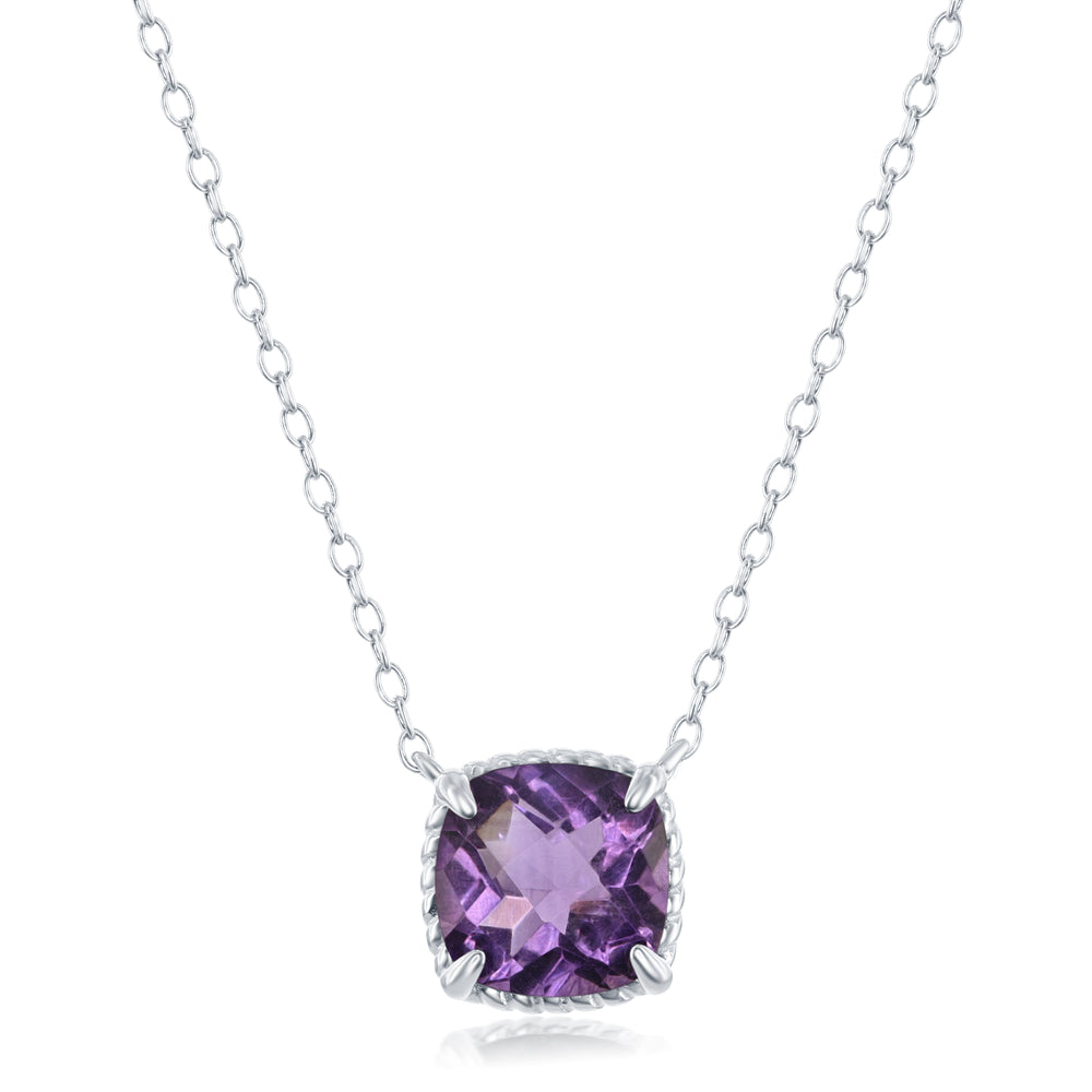 Sterling Silver Cushion/Square Amethyst with Rope Design Border Necklace