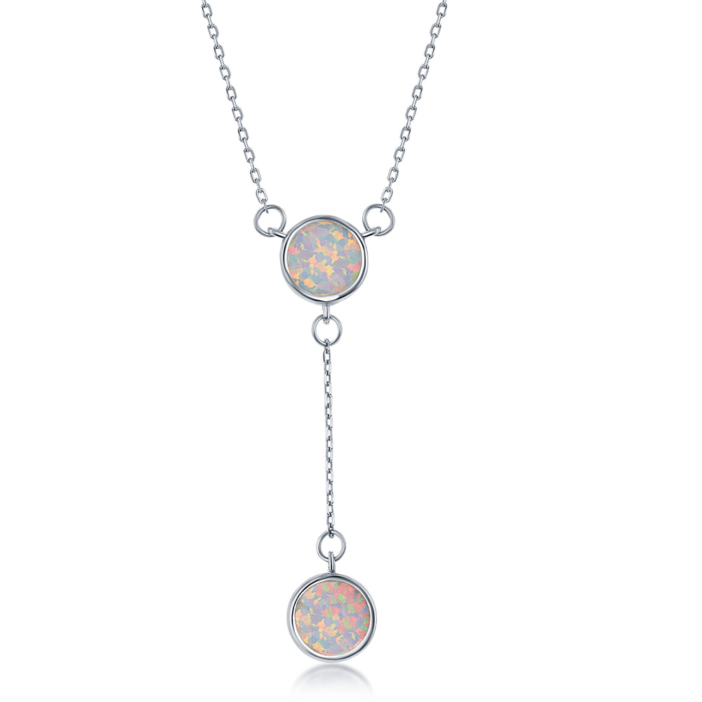 Sterling Silver White Inlay Opal Double Disc Lariat Necklace