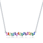 Sterling Silver Rainbow Baguette CZ Bar Necklace