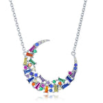 Sterling Silver Rainbow Baguette & Round CZ Crescent Moon Necklace