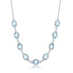 Sterling Silver Blue Topaz Oval Linked Necklace