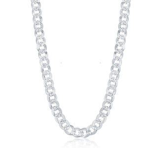 Sterling Silver 7.3mm Flat Pave Cuban Chain