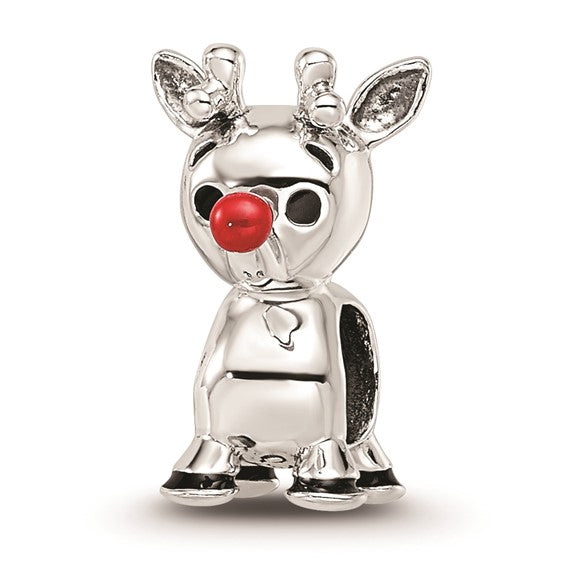 Sterling Silver Red Enamel Rudolph Bead