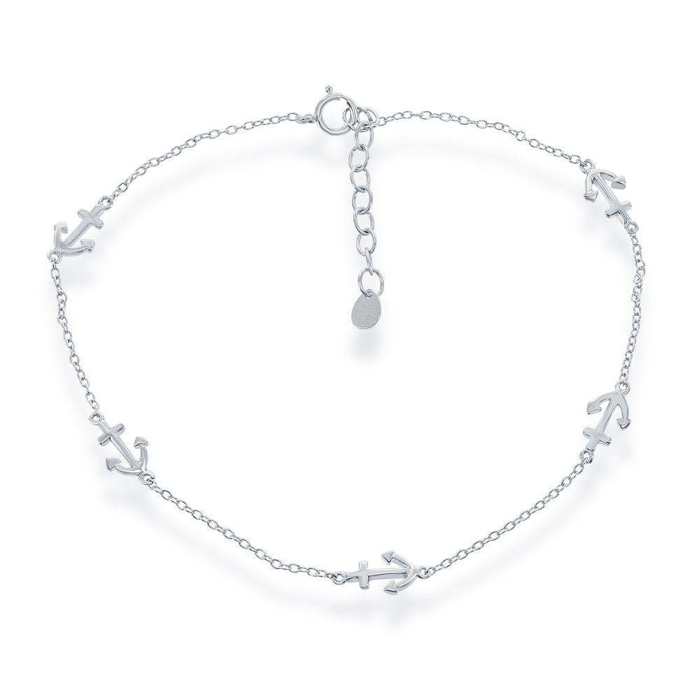 Sterling Silver Anchor Pattern Anklet