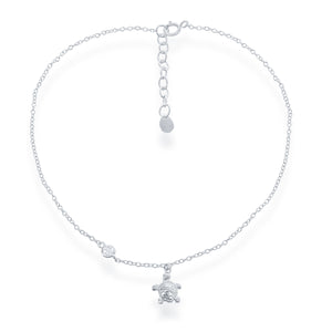 Sterling Silver Turtle charm with CZ Anklet