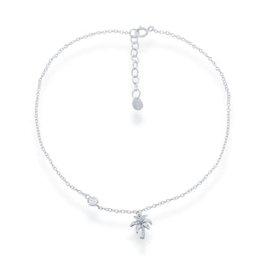 Sterling Silver Palm Tree with CZ Anklet