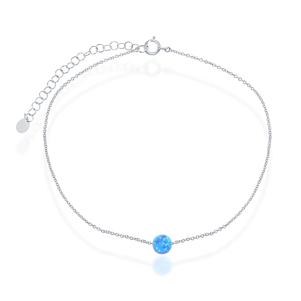Sterling Silver Round & Blue Floating Opal Anklet
