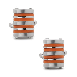 Stainless Steel Orange Rubber Striped Cuff Links