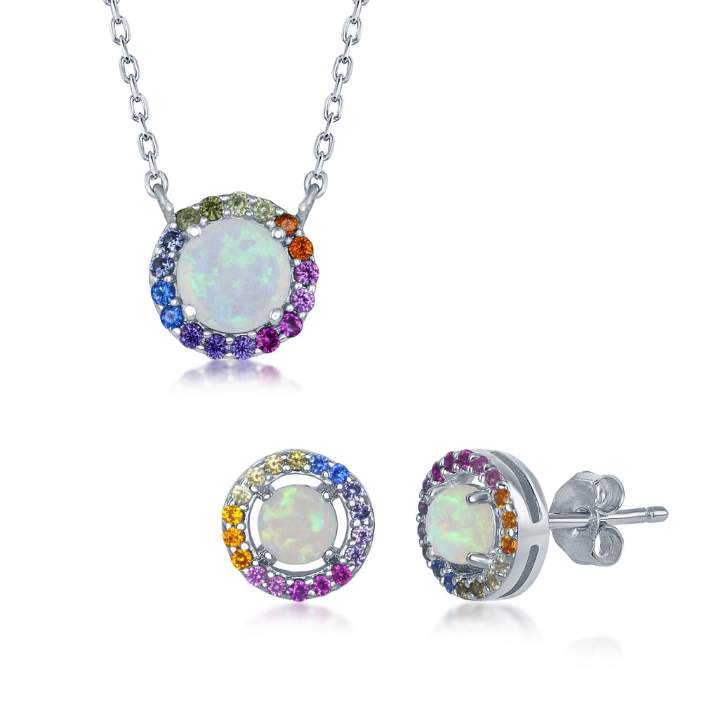 Sterling Silver Round White Opal Rainbow CZ Necklace and Earrings Set