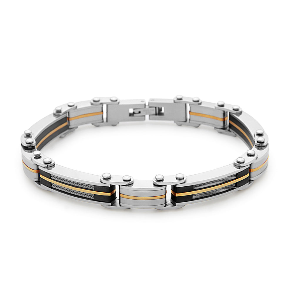 Stainless Steel Cable and Gold Overlay Links Bracelet