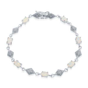 Sterling Silver Oval White Opal With Marquise Shape Bracelet