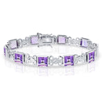 "Sterling Silver 7"" Alternating Design & Square Shaped Amethyst Gemstone Bracelet"