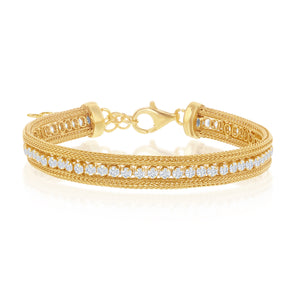 Sterling Silver Yellow Gold OverlayCZ Row with Double Mesh Bracelet