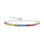 Sterling Silver Rainbow CZ Channel-Setting 4mm Adjustable Bolo Bracelet