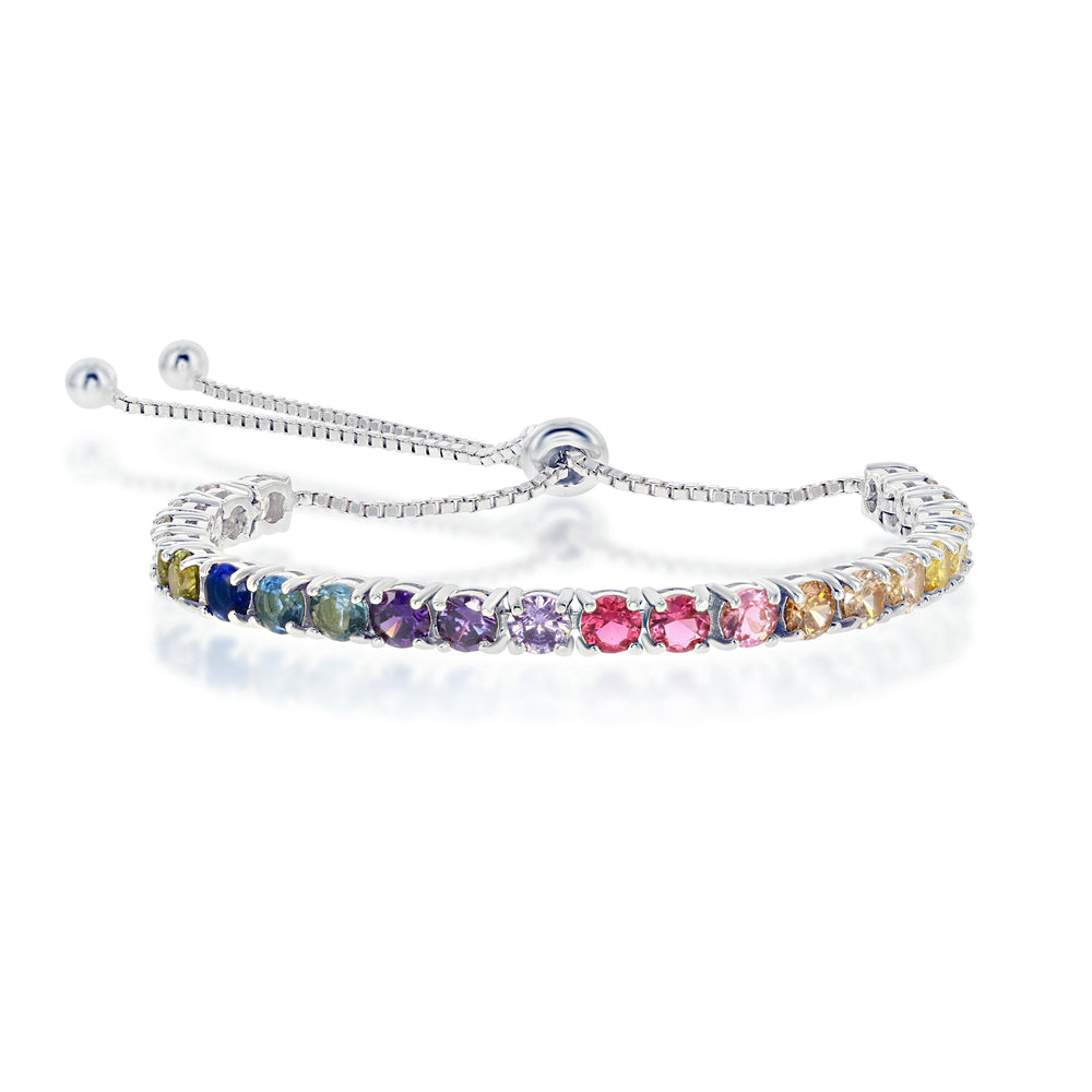 Sterling Silver Rainbow CZ 4mm Adjustable Bolo Bracelet