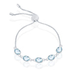 Sterling Silver Blue Topaz Oval Linked Adjustable Bolo Bracelet