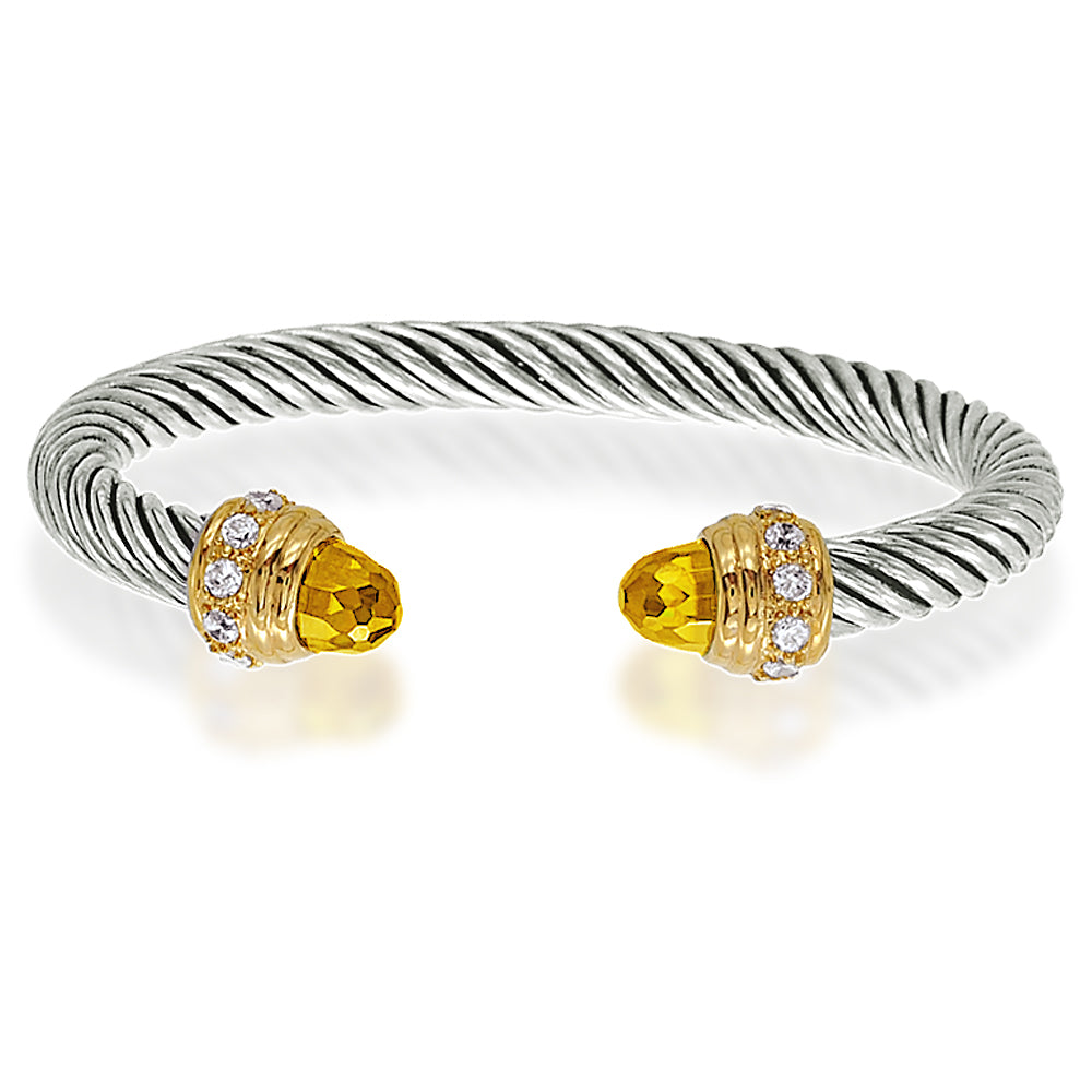 Two Tone Citrine Briolette Cuff Bangle Bracelet
