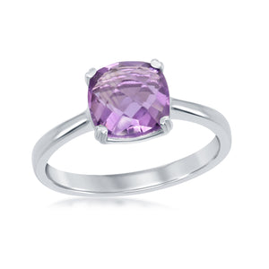 Sterling Silver Cushion/Square Amethyst Ring