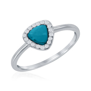 Sterling Silver Triangle Turquoise with CZ Border Ring