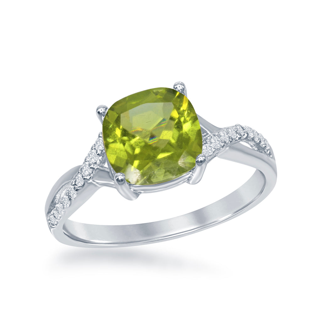 Sterling Silver Peridot & White Topaz Ring