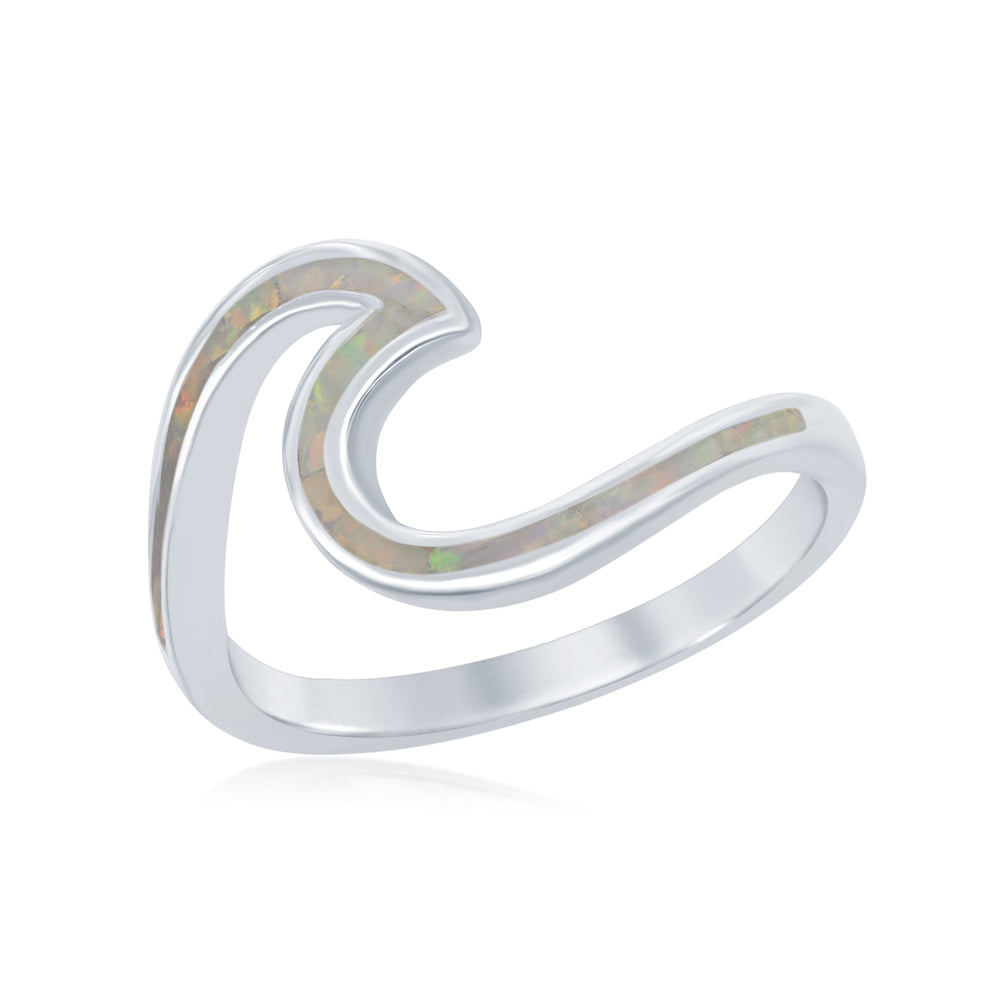 Sterling Silver White Inlay Opal Wave Design Ring
