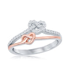 Sterling Silver Two-Tone Rose Gold Overlay Love Knot Heart Micro Pave Ring