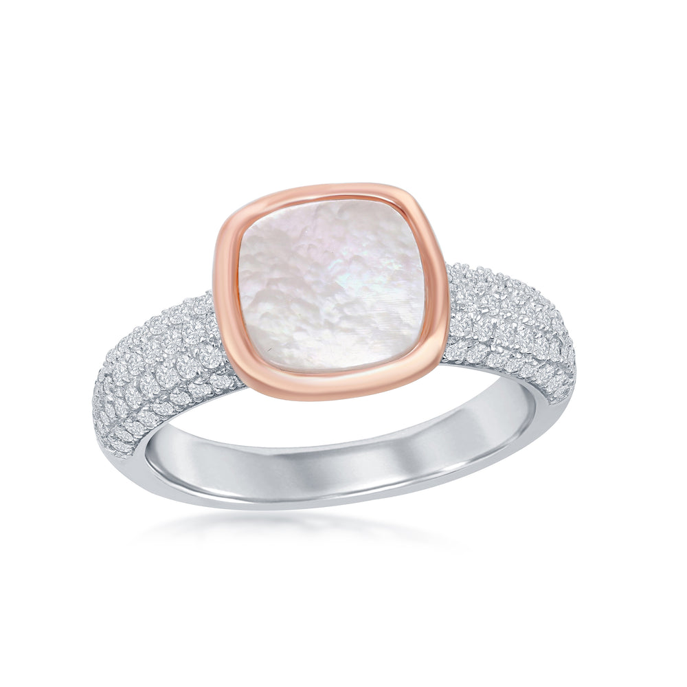 Sterling Silver Rose Gold Overlay Square Mother of Pearl Micro Pave Band Ring