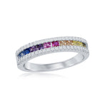 Sterling Silver Half Channel-Set Rainbow CZ with White CZ Border Ring