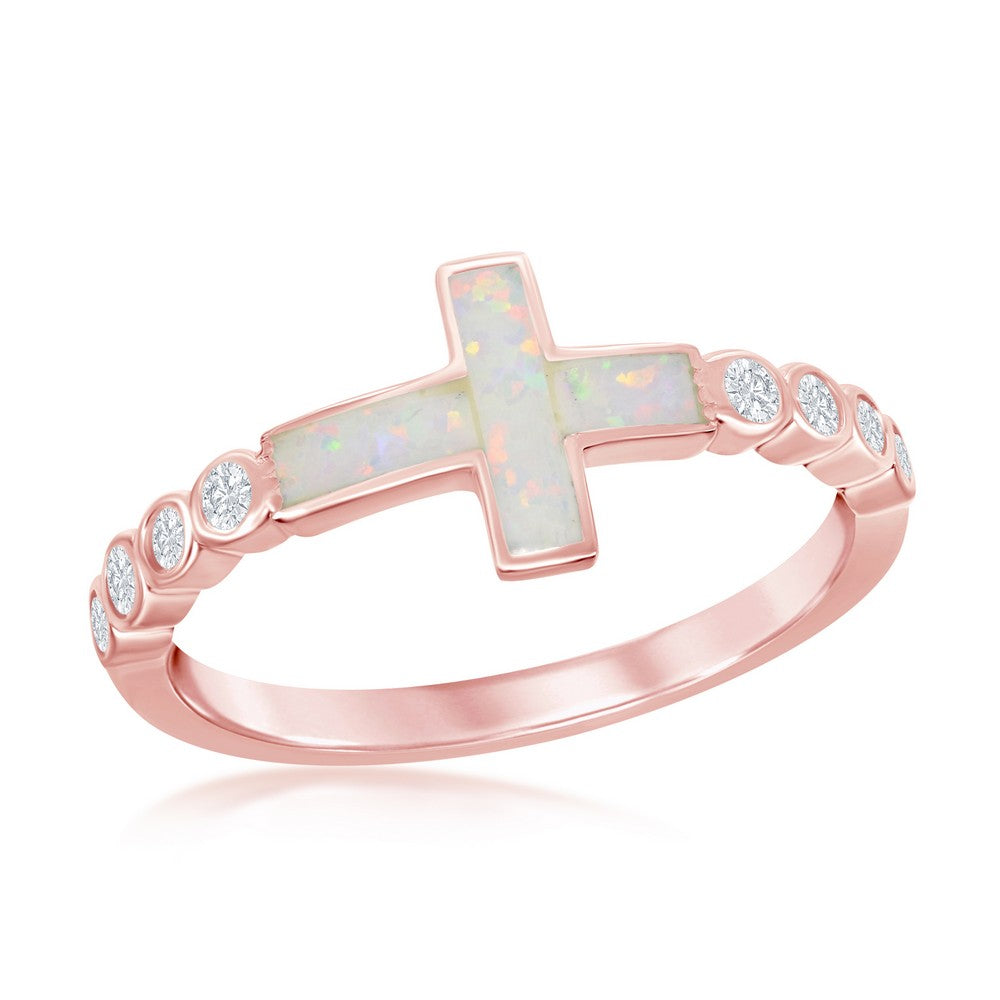 Sterling Silver White Inlay Opal Sideways Cross Half CZ Band Ring