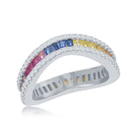 Sterling Silver Rainbow Baguette CZ with Clear CZ Border Wavy Ring