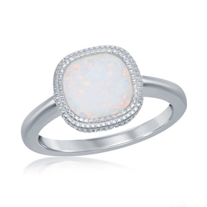 Sterling Silver Square White Inlay Opal Ring
