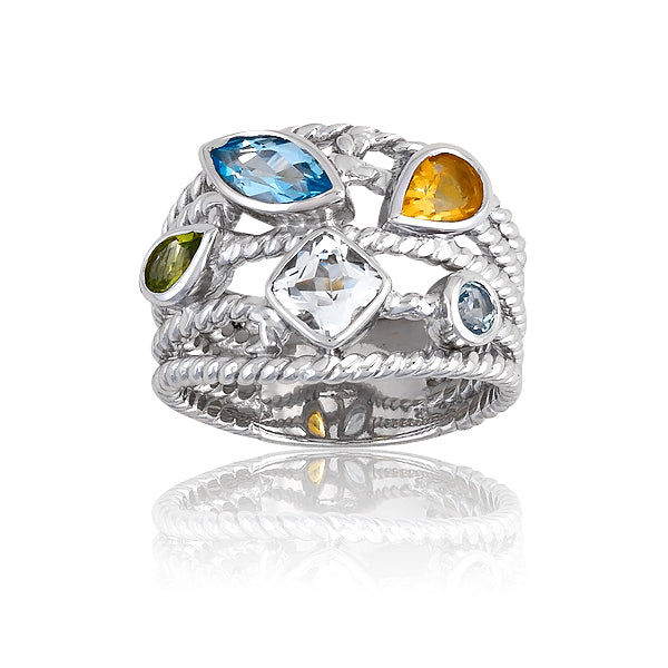 Sterling Silver Citrine, Peridot and White & Blue Topaz Multi-Shaped Gemstone 5-Strand Ring