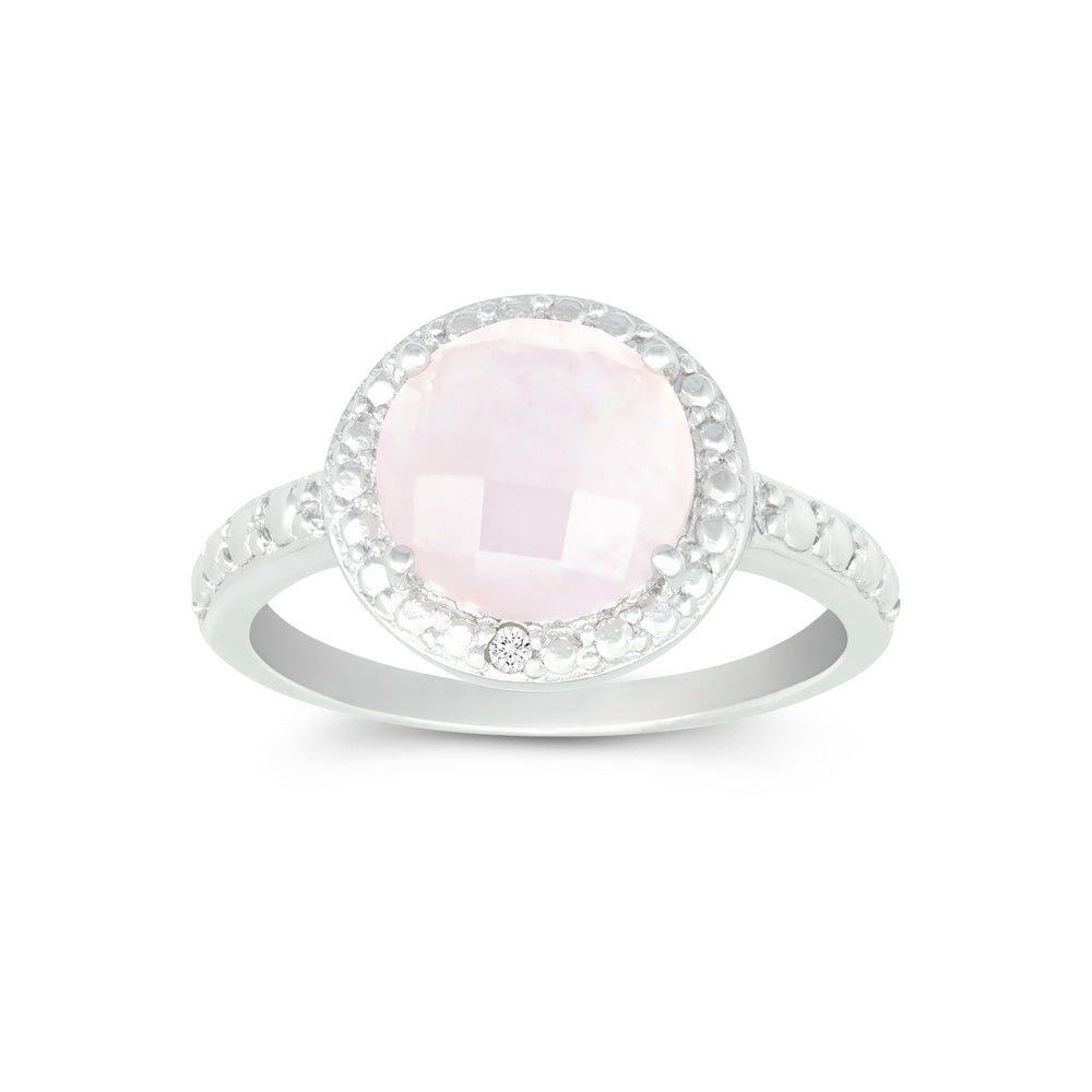 Rose Quartz & Diamond Halo Ring