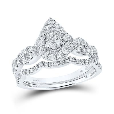 14K WHITE GOLD PEAR DIAMOND BRIDAL WEDDING RING SET 1 CTTW (CERTIFIED)