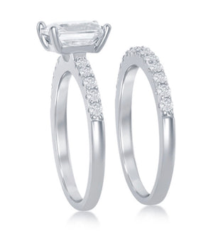 Sterling Silver Princess Cut Engagement Ring Set