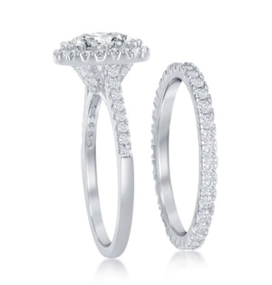 Sterling Silver Round Halo French Set Engagement Ring Set