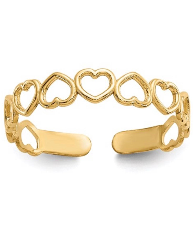 14K Open Heart Toe Ring