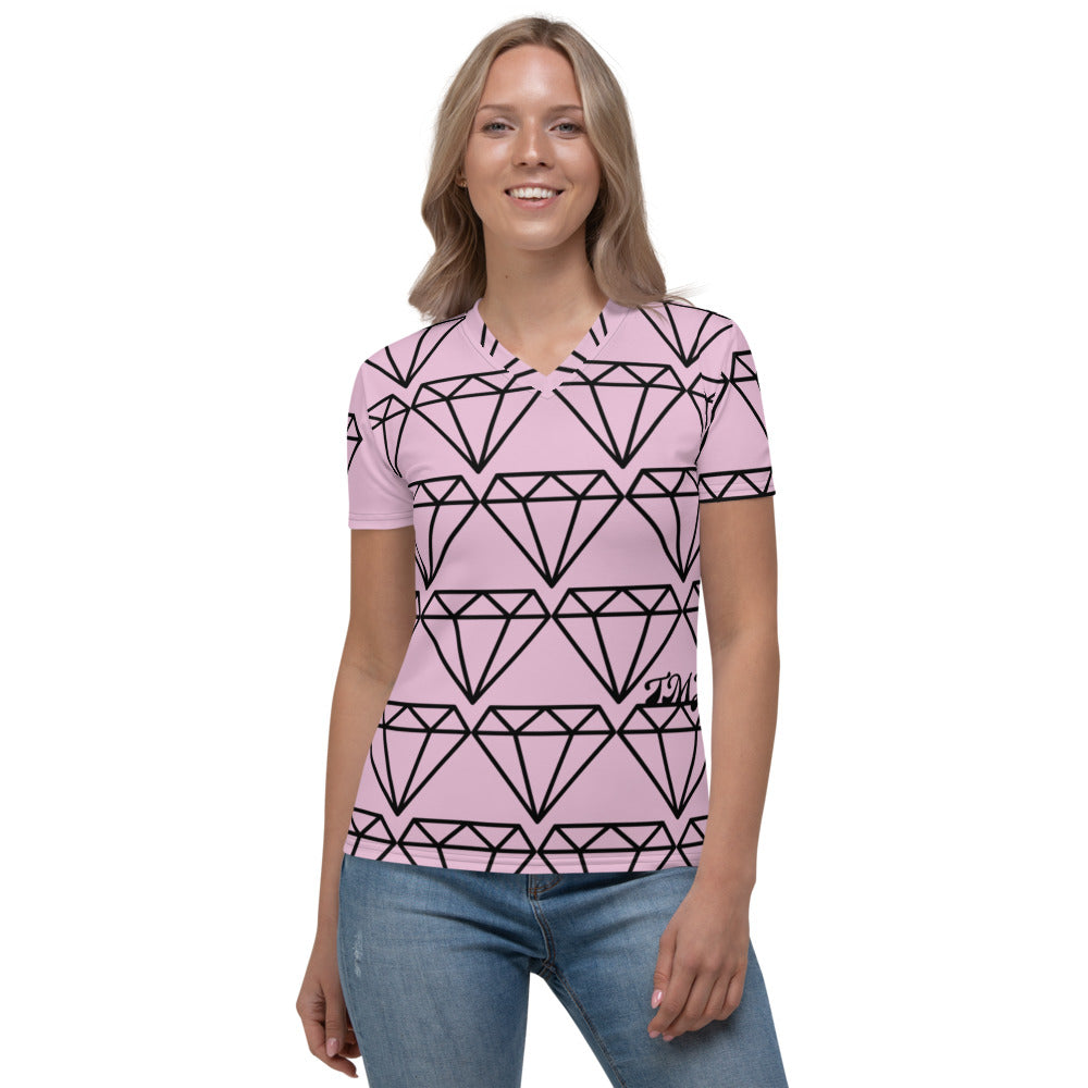 Women's V-neck Diamond Fancy Tee