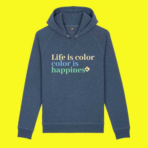 sweat à capuche coton bio Femme Bleu Chiné Life is color