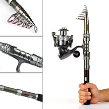 Load image into Gallery viewer, Telescopic Fishing Rod and Reel Combo - with 19pc Tackle Kit and Carrying case
