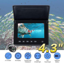 Load image into Gallery viewer, Portable Underwater Fishing Camera with Night Vision - Waterproof 4.3 inch Display with 4 Infrared LED Lights  - LCD Monitor Fish Finder Video Camera for Kayak, Boat, Ice, Saltwater / Freshwater Fishing - Big Game Fishing