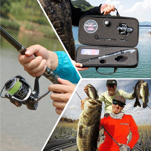 Telescopic Fishing Rod and Reel Combo - with 19pc Tackle Kit and Carrying case - Big Game Fishing