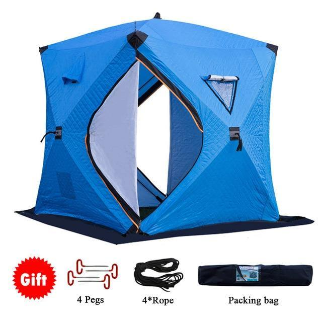 Ice Fishing Tent -  Fits 4 People Comfortably - Insulated, Waterproof, and Windproof - Big Game Fishing