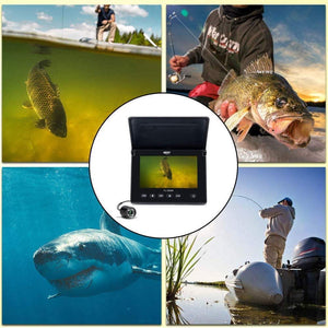 Portable Underwater Fishing Camera with Night Vision - Waterproof 4.3 inch Display with 4 Infrared LED Lights  - LCD Monitor Fish Finder Video Camera for Kayak, Boat, Ice, Saltwater / Freshwater Fishing - Big Game Fishing