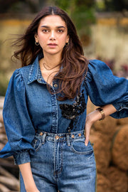 Aditi Rao Hydari in our DENIM SHIRT WITH GOLD & BLACK EMBELLISHMENT - MellowDrama