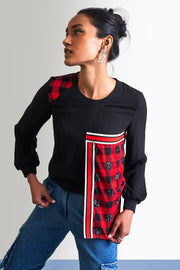 BLACK & CHECK EMBELLISHED TOP - MellowDrama