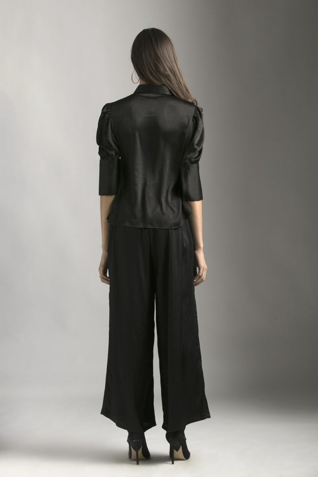 BLACK CHIFFON FLARED PANTS - MellowDrama