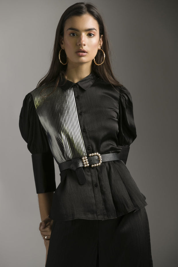 BLACK CHIFFON SATIN SET WITH FOIL PLEAT - MellowDrama