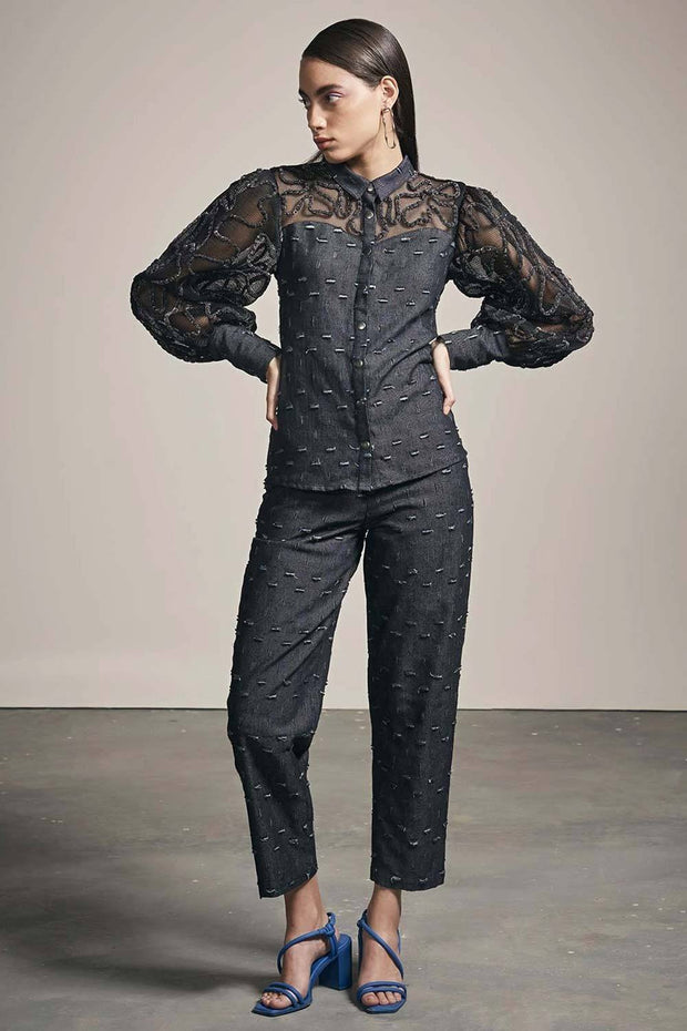 BLACK RIPPED DENIM SHIRT WITH THREAD WORK - MellowDrama