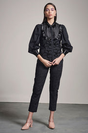 BLACK SCHIFFLI EMBELLISHED SHIRT - MellowDrama